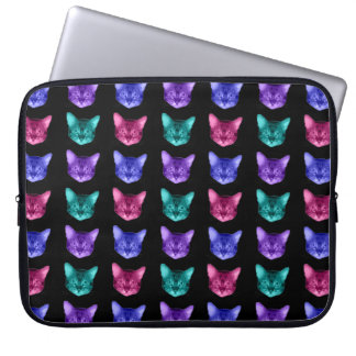Four Colors Cats On Black Computer Sleeve