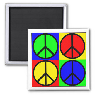 Four Colors, Four Peace Signs Refrigerator Magnet