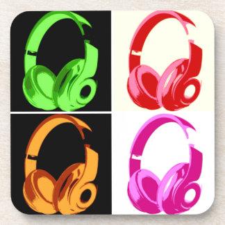 Four Colors Headphone Pop Art Head Phone Beverage Coaster