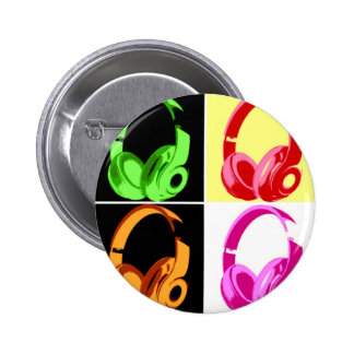 Four Colors Headphone Pop Art Head Phone Button
