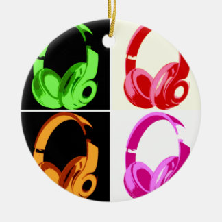 Four Colors Headphone Pop Art Head Phone Ceramic Ornament