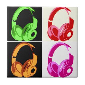 Four Colors Headphone Pop Art Head Phone Ceramic Tile