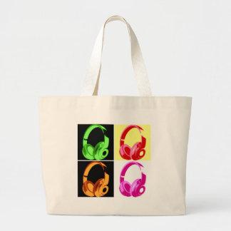 Four Colors Headphone Pop Art Head Phone Large Tote Bag
