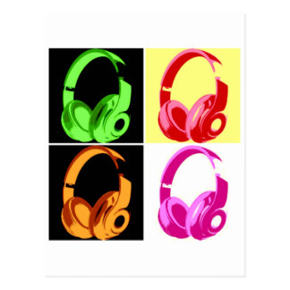 Four Colors Headphone Pop Art Head Phone Postcard