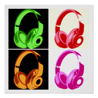 Four Colors Headphone Pop Art Head Phone Poster