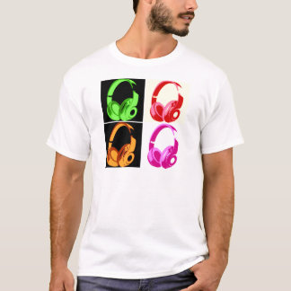 Four Colors Headphone Pop Art Head Phone T-Shirt