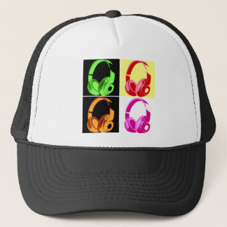 Four Colors Headphone Pop Art Head Phone Trucker Hat
