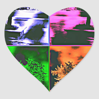 FOUR COLORS OF TREES HEART STICKER