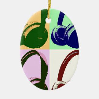 Four Colors Pop Art Headphones Ceramic Ornament