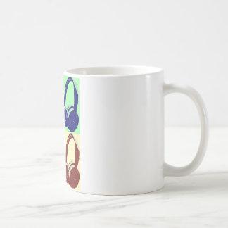 Four Colors Pop Art Headphones Coffee Mugs