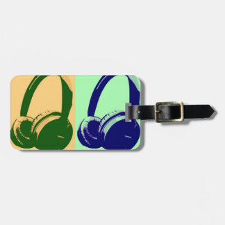 Four Colors Pop Art Headphones Tag For Luggage