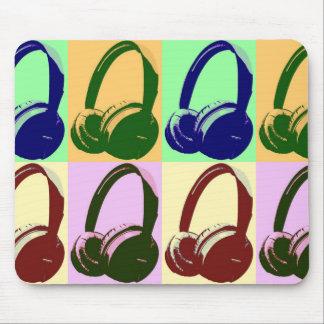 Four Colors Pop Art Headphones Mouse Pad