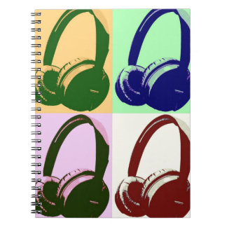 Four Colors Pop Art Headphones Notebook