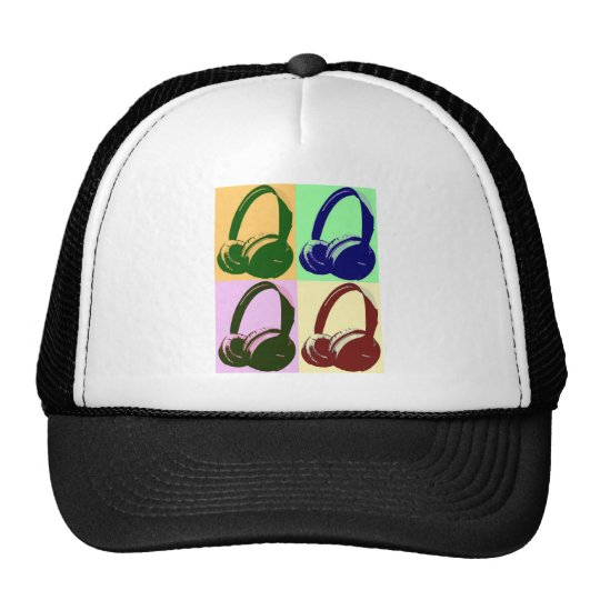 Four Colors Pop Art Headphones Trucker Hat