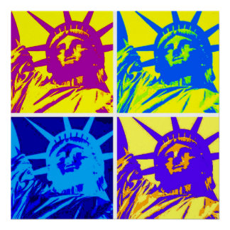 Four Colors Pop Art Style Statue of Liberty Poster