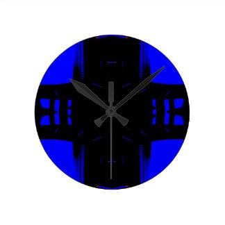 Four Corners Blue Black Fashion Drama Round Clock