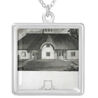 Four Cottages, 1818 Square Pendant Necklace