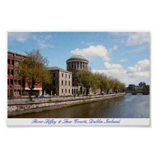 Four Courts River Liffey Dublin City Ireland Poster