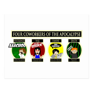 Four Coworkers Of The Apocalypse Postcard