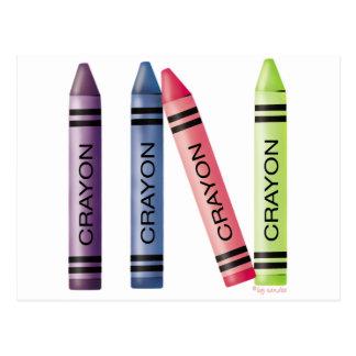 Four Crayons Postcard