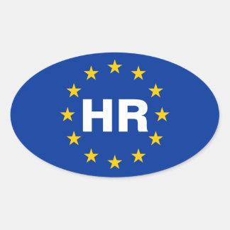 "FOUR Croatia ""HR"" European Union Flag Oval Sticker"