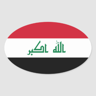 FOUR Current Flag of Iraq Oval Sticker