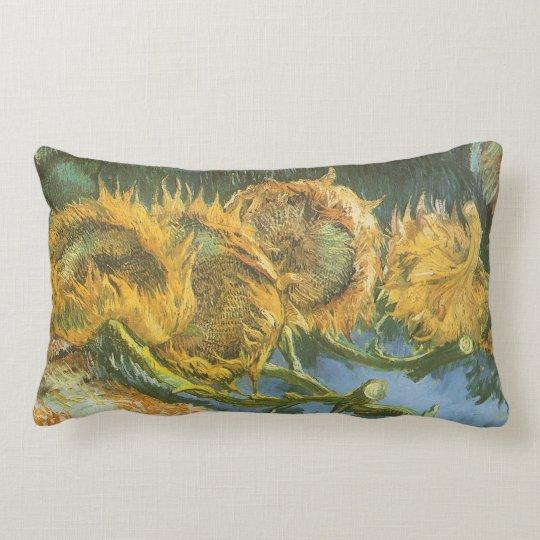 Four Cut Sunflowers by Vincent van Gogh, Fine Art Lumbar Pillow
