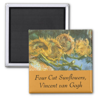 Four Cut Sunflowers by Vincent van Gogh, Fine Art 2 Inch Square Magnet