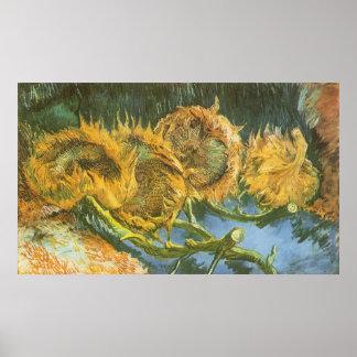 Four Cut Sunflowers by Vincent van Gogh, Fine Art Poster