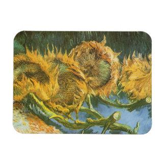 Four Cut Sunflowers by Vincent van Gogh, Fine Art Rectangular Photo Magnet