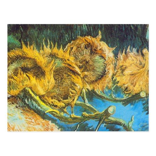 Four Cut Sunflowers by Vincent van Gogh Postcard