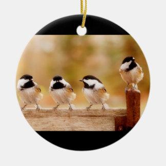 Four Cute Chickadees Ceramic Ornament