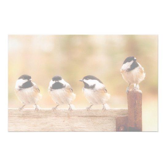 Four Cute Chickadees Stationery