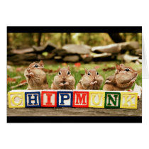 four cute chipmunks card