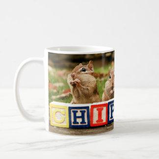 four cute chipmunks coffee mug