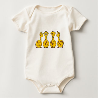 Four Cute Giraffes Baby Bodysuit