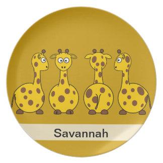 Four Cute Giraffes Melamine Plate