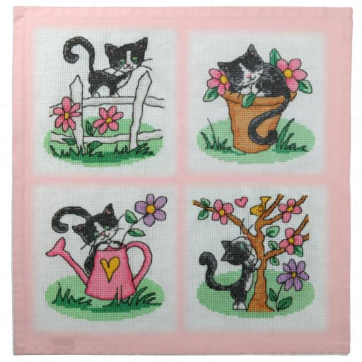 Four cute kittens cross stitch embroidery printed napkin
