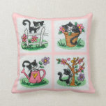 Four cute kittens cross stitch embroidery throw pillow
