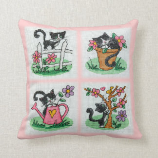Four cute kittens cross stitch embroidery pillow
