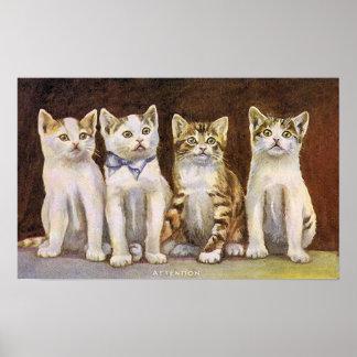 Four Cute Kittens Vintage Illustration Poster