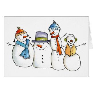 Four Cute Snowmen Greeting Card