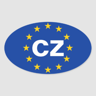 """FOUR Czech Republic """"CZ"""" European Union Flag Stickers"""