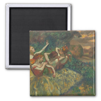 Four Dancers by Degas Square Magnet