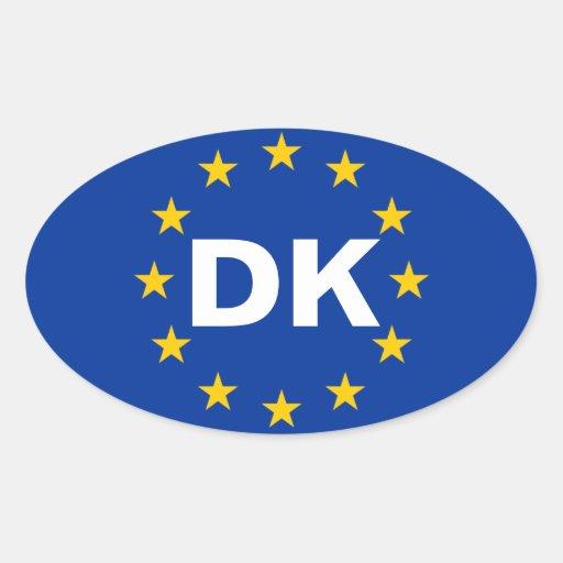 "FOUR Denmark ""DK"" European Union Flag Stickers"