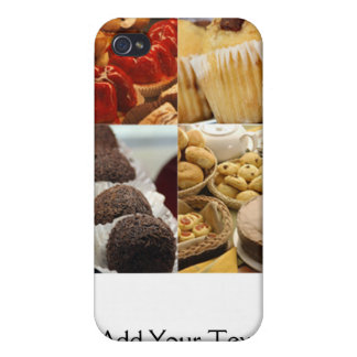 Four Dessert Panel on Chocolate Brown Case For iPhone 4