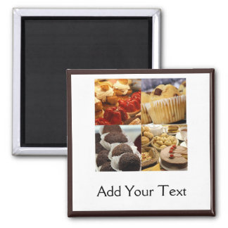Four Dessert Panel on Chocolate Brown 2 Inch Square Magnet