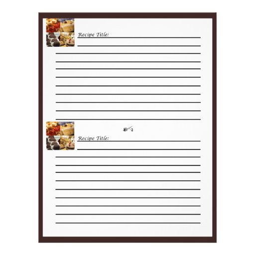 """Four Dessert Panel on Chocolate Brown Recipe Cards 8.5"""" X 11"""" Flyer"""