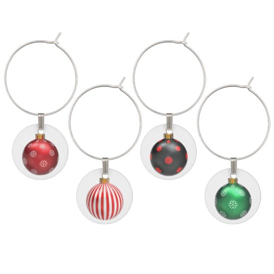 Four Different Color Christmas Ball Wine Charms