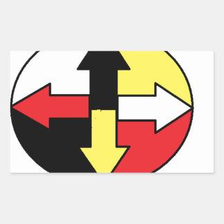 Four Directions Rectangular Sticker